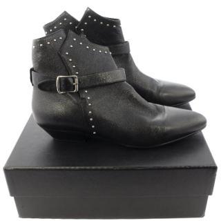 Saint Laurent Women's Black Studded Leather Signature Ankle Boots