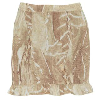 Max Mara Brown Wash Out Effect Cotton Frill Skirt