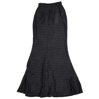 Walk of Shame Black Chevron Fil-Coupe Maxi Skirt