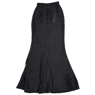 Walk of Shame Black Chevron Fil-Coupe Maxi Skirt