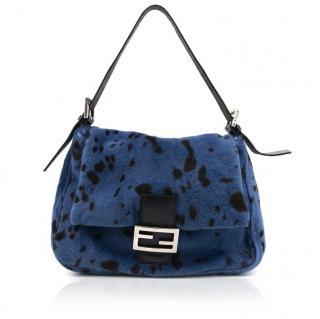 Fendi Blue and Dark Brown Dalmatian Shoulder Bag