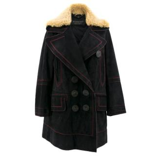 Burberry Suede and Shearling Coat