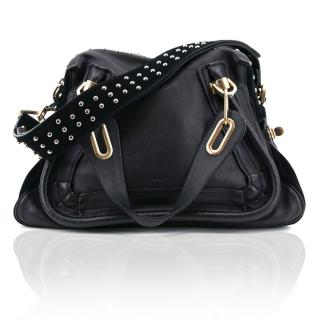 Chloe Black Leather and Suede Paraty Military Bag