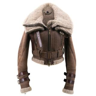 Burberry Brown Leather Fur Jacket