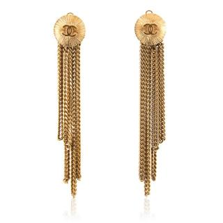 Chanel Gold Disk Chain Chandelier Clip On Earrings