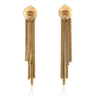 Chanel Gold Disk Chain Chandelier Clip On Earrings