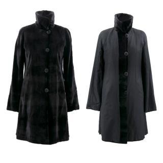 Saks Fifth Avenue Black Rabbit Fur Coat