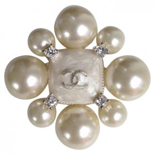 Chanel Pearl and Rhinestone Brooch