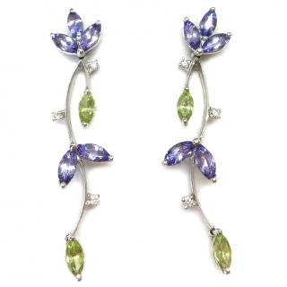 18ct White Gold Diamond, Tanzanite & Peridot Articulated Leaf Earrings