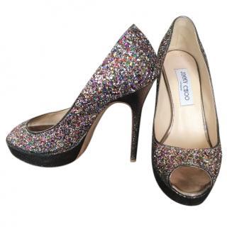 Jimmy Choo Multicoloured glitter fabric peep toe platform pumps