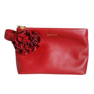 Paule Ka Calfskin Leather Wristlet/Cutch Bag