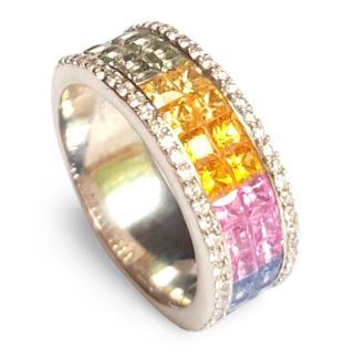 Goldsmiths Amazing Rainbow Sapphire & Diamond Ring