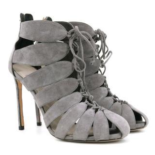 Francesco Russo Grey Lace Up Cut Out Heels