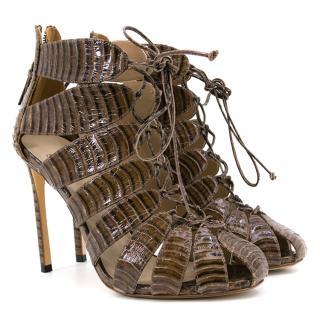 Francesco Russo Brown Croc Effect Lace Up Heels