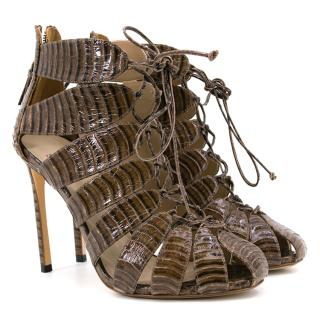 Francesco Russo Brown Croc Effect Lace Up Heels