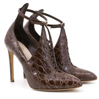 Francesco Russo Brown Croc Effect Heels