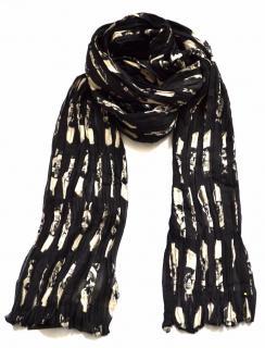 Saint Laurent pleated black-ivory skull print wool-silk scarf