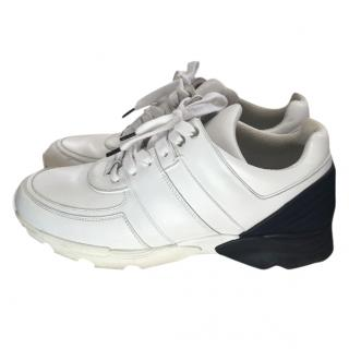 Chanel white and navy trainers