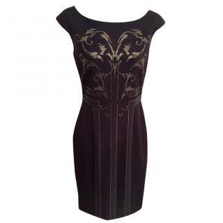 Versace Collection Black Rhinestone Baroque Printed Dress
