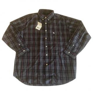 Burberry Classic Navy Blue Checked Shirt