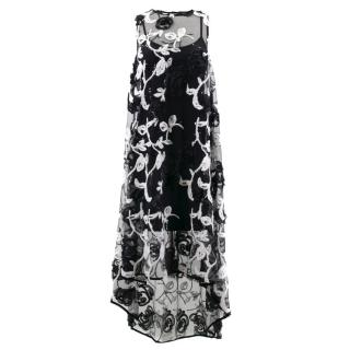 Anne Fontaine Black and White Floral Sheer Dress