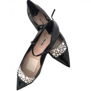 Miu Miu Jewel-Embellished Satin Ballerina Flat Patent Leather