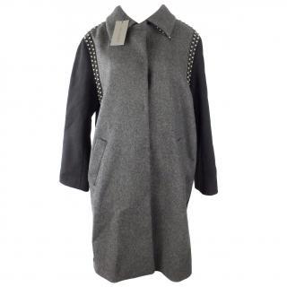 Alberta Ferretti Grey Studded Coat