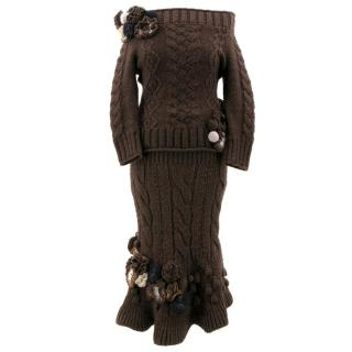 Alexander McQueen Brown Knit Skirt and Top Set