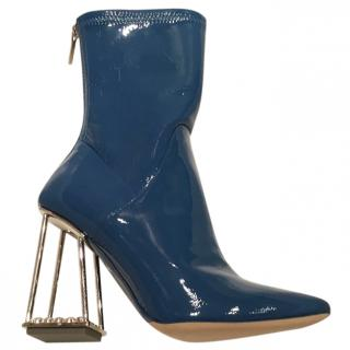 Dior Diamonds Couture Runway Patent Blue Crystal Heel Boots