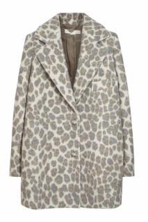 Stella McCartney Karla Grey Leopard Print Jacquard Felted Jacket UK 10