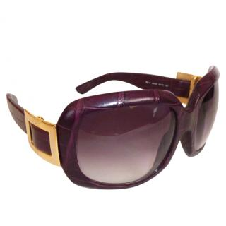 Roger Vivier RV 4 Violet Crocodile Oversized Buckle Sunglasses Limited