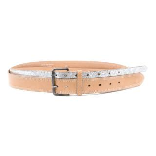 Dries van Noten Silver and Beige Belt