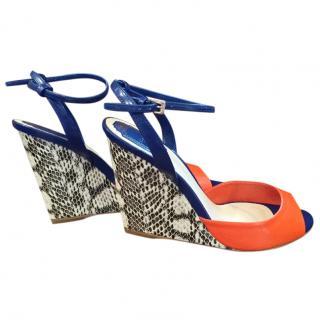 Dior Reflet Blue, Orange and Snakeskin Leather Wedge Sandal