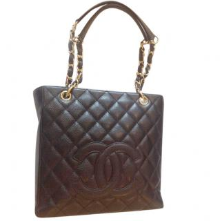 Chanel PST Black Caviar Quilted Leather Medium
