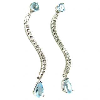 14ct white gold diamond & topaz earrings