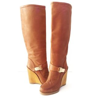 Mulberry Tillie Brown Leather Knee High Boots
