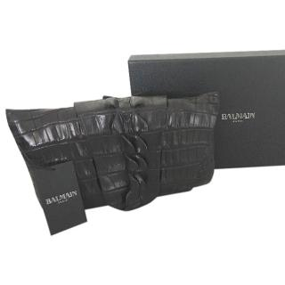 Balmain rare exotic leathers clutch bag