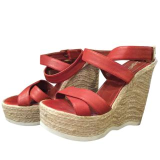 YSL Red Leather Espadrille Platform Wedges