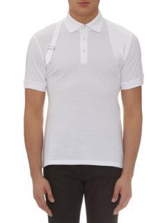 Alexander McQueen Men's White Harness Stand-collar Polo Shirt