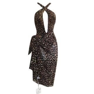 Gottex Silver Animal Magnetism Cut Out One Piece in Brown + Sarong
