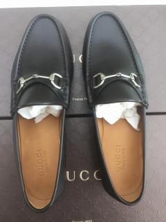 Gucci men's cocoa leather loafers