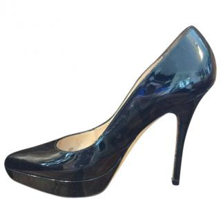 YSL Black Patent Platform Janis Heels