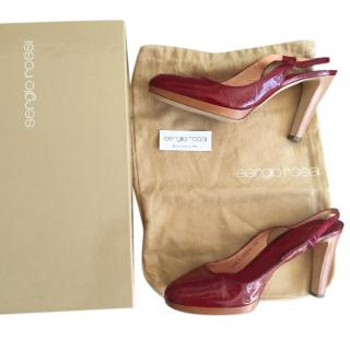 Sergio Rossi red leather sling back shoes