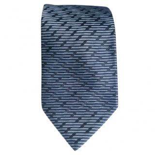 Lanvin Blue Base With Horizontal and Broken Diagonal Stripes Silk Tie