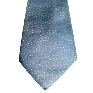 Lanvin Light Blue Base With White Spots Silk Tie