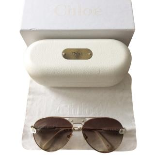 Chloe white and gold leather aviator sunglasses