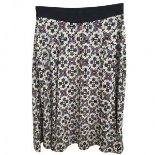Prada abstract print flared skirt