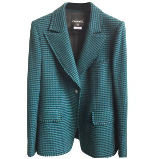 Chanel black/turquoise tweed jacket