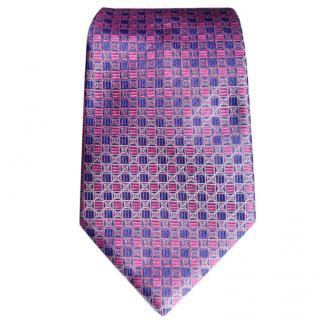 Emilio Pucci Pink & Purple Circles & Squares Foulard Pattern Silk Tie