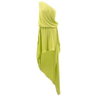 BCBG Max Azria Lime Silk Asymmetric Dress
